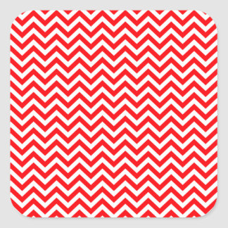 Red and White Christmas Chevron ZigZag Square Sticker