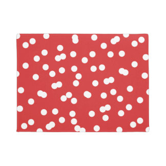 Red and White Christmas Confetti Pattern Doormat