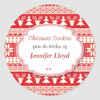 Red and White, Christmas Cookies, Treats Classic Round Sticker