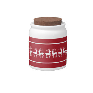 Red and White Christmas Deer Candy Jar