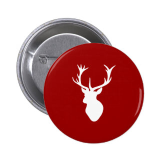 Red and White Christmas Deer Stag Head 2 Inch Round Button