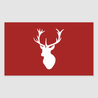 Red and White Christmas Deer Stag Head Rectangular Sticker