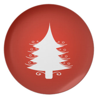 Red And White Christmas Holiday Tree Plate