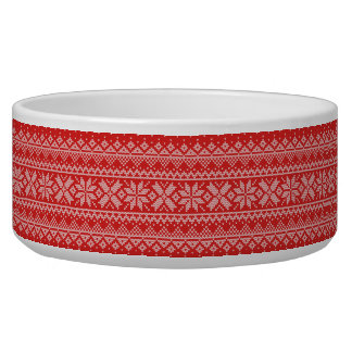 Red and White Christmas Knitted Pattern Bowl