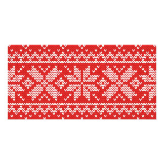 Red and White Christmas Knitted Pattern Card