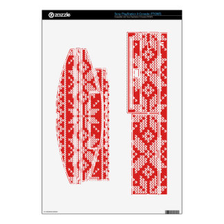 Red and White Christmas Knitted Pattern Decal For PS3