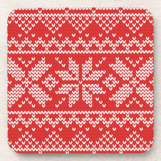 Red and White Christmas Knitted Pattern Drink Coaster