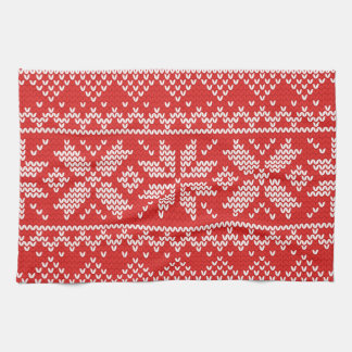 Red and White Christmas Knitted Pattern Hand Towels