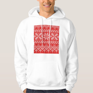 Red and White Christmas Knitted Pattern Hoodie