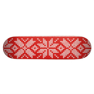 Red and White Christmas Knitted Pattern Skateboard Deck