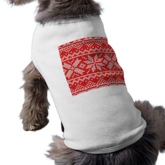 Red and White Christmas Knitted Pattern T-Shirt