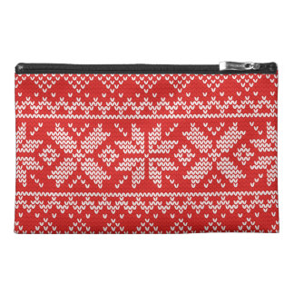 Red and White Christmas Knitted Pattern Travel Accessories Bag