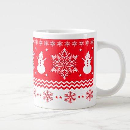 Red and White Christmas Large Coffee Mug