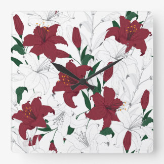 Red and White Christmas Lilies Square Wall Clock