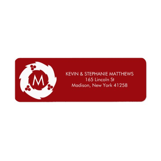 Red and White Christmas Monogram Label