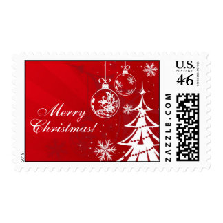 Red and White Christmas Ornament and Tree Postage