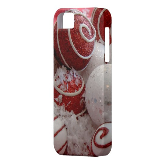 Red and White Christmas Ornaments Barely There iPhone SE/5/5s Case