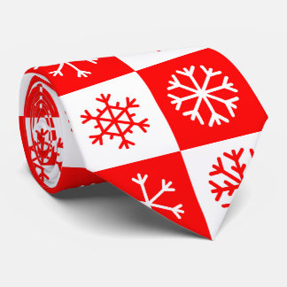 Red and White Christmas Snowflake Checkerboard Neck Tie