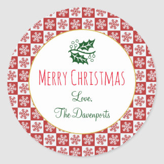 Red and White Christmas Snowflake Pattern Classic Round Sticker