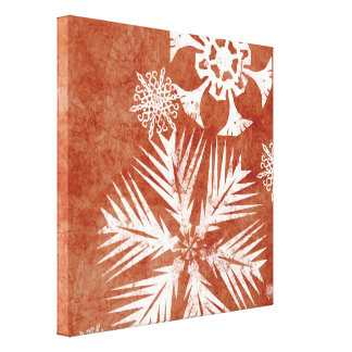 Red and White Christmas Snowflakes Gallery Wrap Canvas