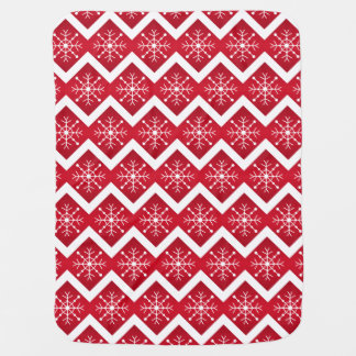 Red and White Christmas Snowflakes Chevron Pattern Baby Blanket