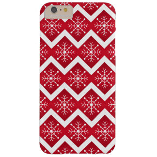 Red and White Christmas Snowflakes Chevron Pattern Barely There iPhone 6 Plus Case