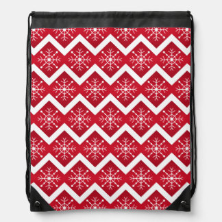 Red and White Christmas Snowflakes Chevron Pattern Drawstring Bag