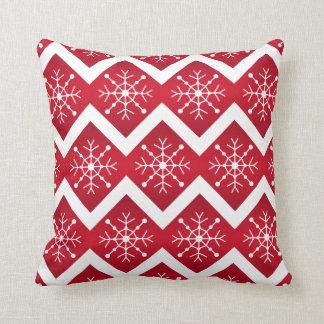 Red and White Christmas Snowflakes Chevron Pattern Pillows