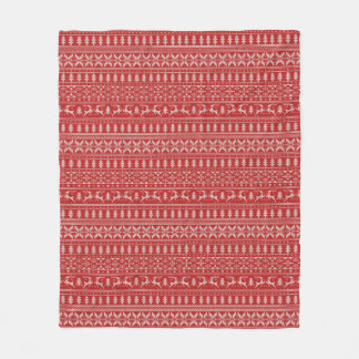 Red and White Christmas Sweater Design Fleece Blanket
