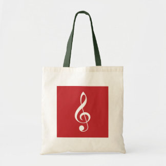 Red and White Christmas Treble Clef Gift Tote Bags