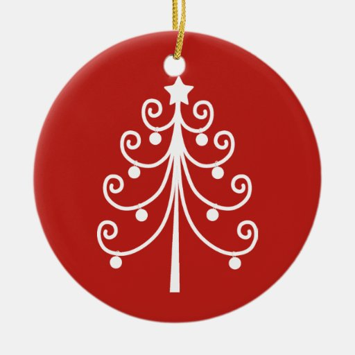 Red and white christmas tree ornament zazzle for White tree red ornaments