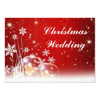 Red and White Christmas Wedding Invitation