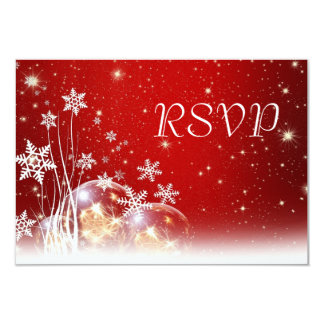 Red and White Christmas Wedding RSVP 3.5x5 Paper Invitation Card