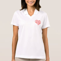 Red and White Circuit Board Geek Love Heart Polo Shirt