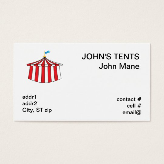 red and white circus tent business card