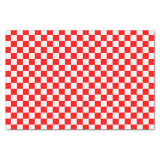 """Red And White Classic Checkerboard 10"""" X 15"""" Tissue Paper"""
