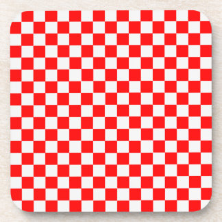 Red And White Classic Checkerboard Coasters