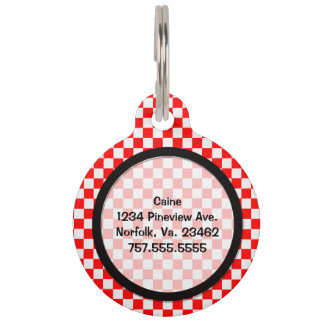 Red And White Classic Checkerboard Pet Name Tags