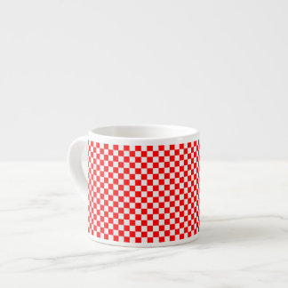 Red And White Classic Checkerboard Espresso Cup
