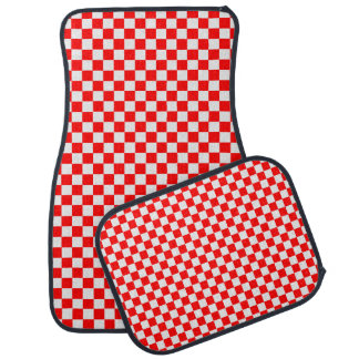 Red And White Classic Checkerboard Floor Mat