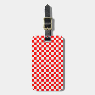 Red And White Classic Checkerboard Travel Bag Tag