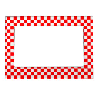Red And White Classic Checkerboard Magnetic Photo Frames