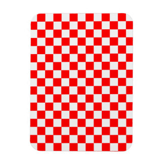 Red And White Classic Checkerboard Rectangular Photo Magnet