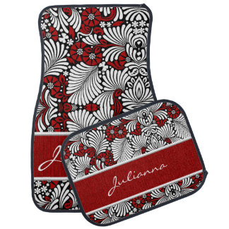 Red and White Classy Car Girl Car Mat