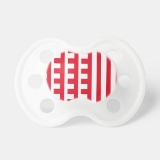 Red and White Combs Tooth Pacifier