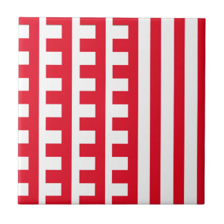 Red and White Combs Tooth Tile