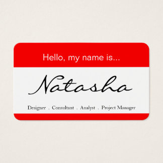 Red and White Corporate Name Tag - Business Card