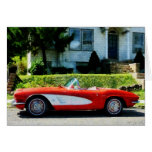 Red and White Corvette Convertible Card