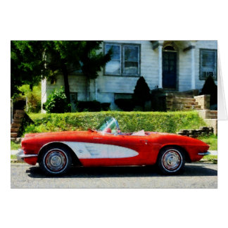 Red and White Corvette Convertible Greeting Card
