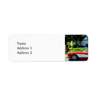 Red and White Corvette Convertible Label